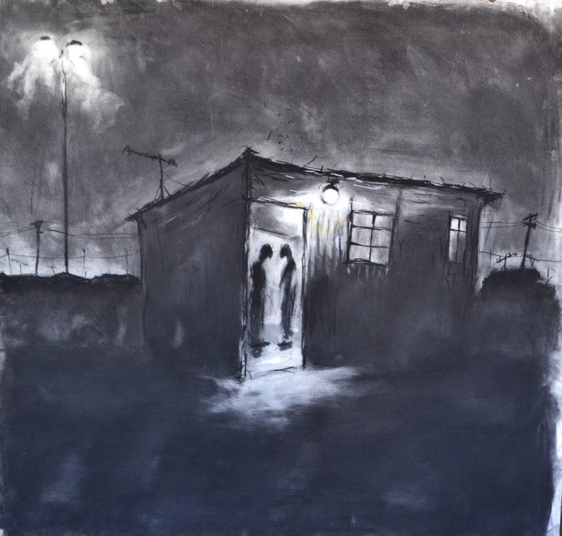 Artist Themba Khumalo paints a charcoal portrait of Johannesburg